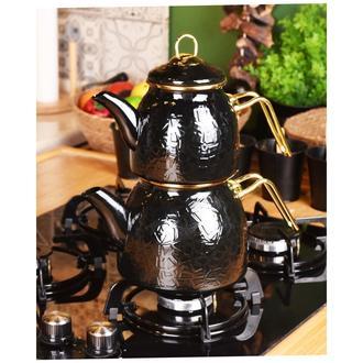 Taşev Sultan Rölyefli Çaydanlık - Siyah