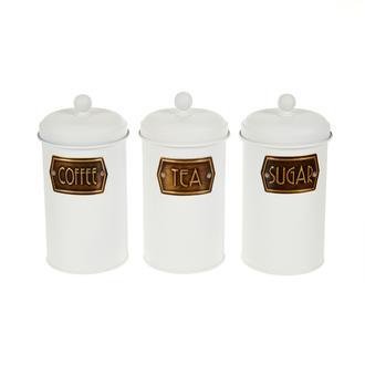 The Mia 3'lü Çay Şeker Kahve Kavanozu - Beyaz