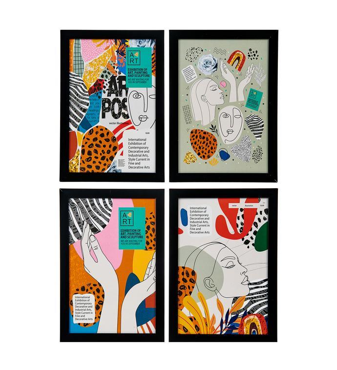 Lumiyard 4'lü Çerçeveli Poster Tablo - 20x30 cm