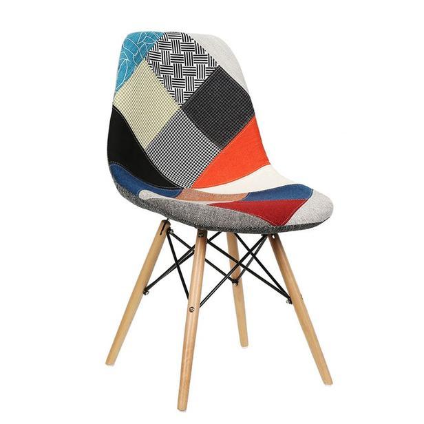 Vitale Harmony Patchwork Ahşap Ayaklı Sandalye - Renkli