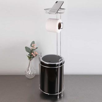 Metalife Yedekli Wc Kağıtlık ve Çöp Kovası - Siyah