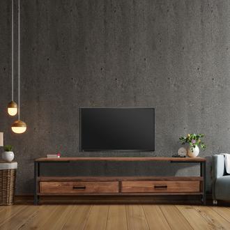 Just Home Wooddy 2 Çekmeceli Raflı Masif Tv Ünitesi