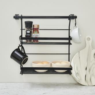 Akın Lüx İkili Mutfak Rafı - Siyah