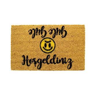 Giz Home Hoşgeldiniz - Güle Güle Smile Kapı Önü Paspas - 33x55 cm