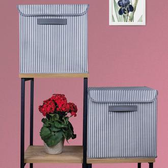Rope Home Katlanır Kapaklı Kutu (Gri/Beyaz) - 30x30 cm