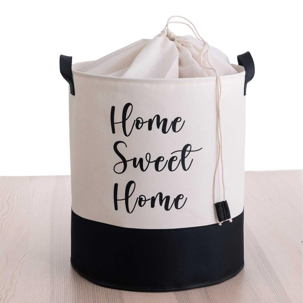 Rope Home Altı Deri Çamaşır Sepeti - Beyaz / Siyah - 50 lt