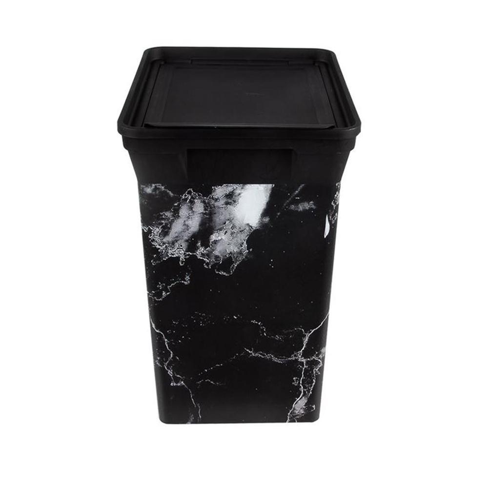 Qutu Trash Bin Black Marble Tezgah Üstü Mutfak Çöp Kovası