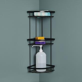 Çelik Banyo Zerrin  3'lü Siyah Duş Rafı - (10 Yıl Paslanmaz)