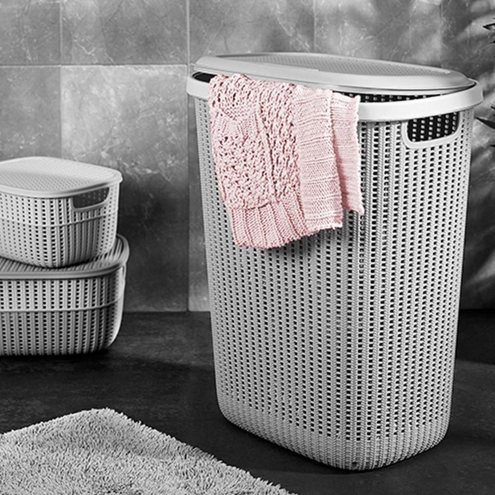 Gondol Knitty Örgü Çamaşır Sepeti - Gri - 57 lt