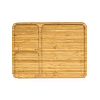 Bamwood 3 Bölmeli Kahvaltı Tabağı - 24x32 cm