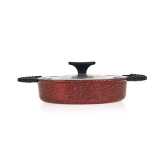 Papilla Vilma Cam Kapaklı Döküm Sahan (Kırmızı) - 18 cm