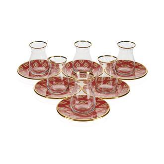 Glore Anita 12 Parça Çay Seti - Kırmızı