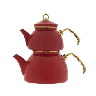 Taşev Şehzade Emaye Çaydanlık - Kırmızı