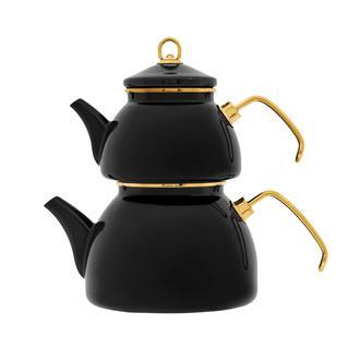 Taşev Şehzade Emaye Çaydanlık - Siyah