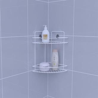Metaltex Linea Bianco 2 Katlı Banyo Köşe Duş Rafı Beyaz