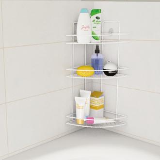 Metaltex Linea Bianco 3 Katlı Banyo Köşe Duş Rafı Beyaz