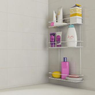 Metaltex Linea Bianco 3 Katlı Banyo Duş Rafı - Beyaz