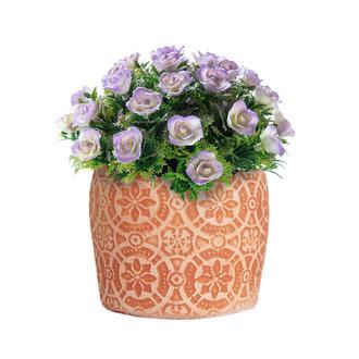 Objevi Geometrik Çiçek Desenli Somon Beton Saksı 14x12 cm