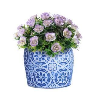 Objevi Geometrik Çiçek Desenli Mavi Beton Saksı 14x12 cm