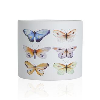 Q-Art Kelebek Desenli Dekoratif Saksı