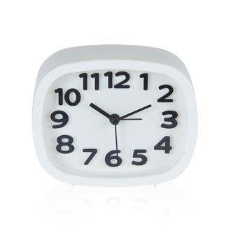 Q-Art  Alarmlı  Masa Saatı Beyaz