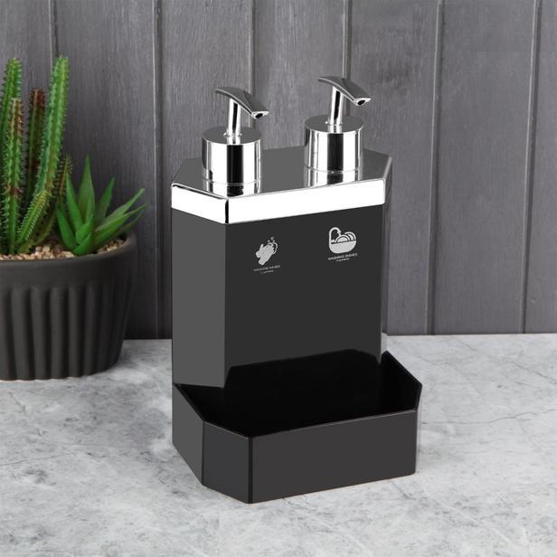 Perotti Lecce Black Silver 2' li Sıvı Sabunluk