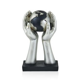 Q-Art Dekoratif El Dünya Biblo Gümüş 18x9x30 cm