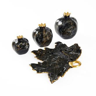 Sera Bianco Tabaklı Nar Seti Siyah Altın Mermer Desenli4'lü