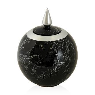Sera Bianco Mermer Desenlı Siyah-Silver Dekoratif Küçük  Sultan Küp 26 cm