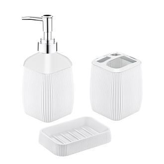 Freehome Çizgili 3'lü Banyo Seti Beyaz