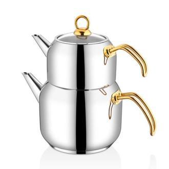 Falez Linda Orta Boy Çaydanlık - Gold