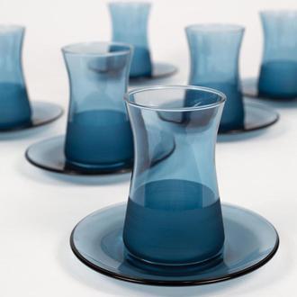 Rakle Matte 12 Parça Çay Seti - Mavi/132 ml