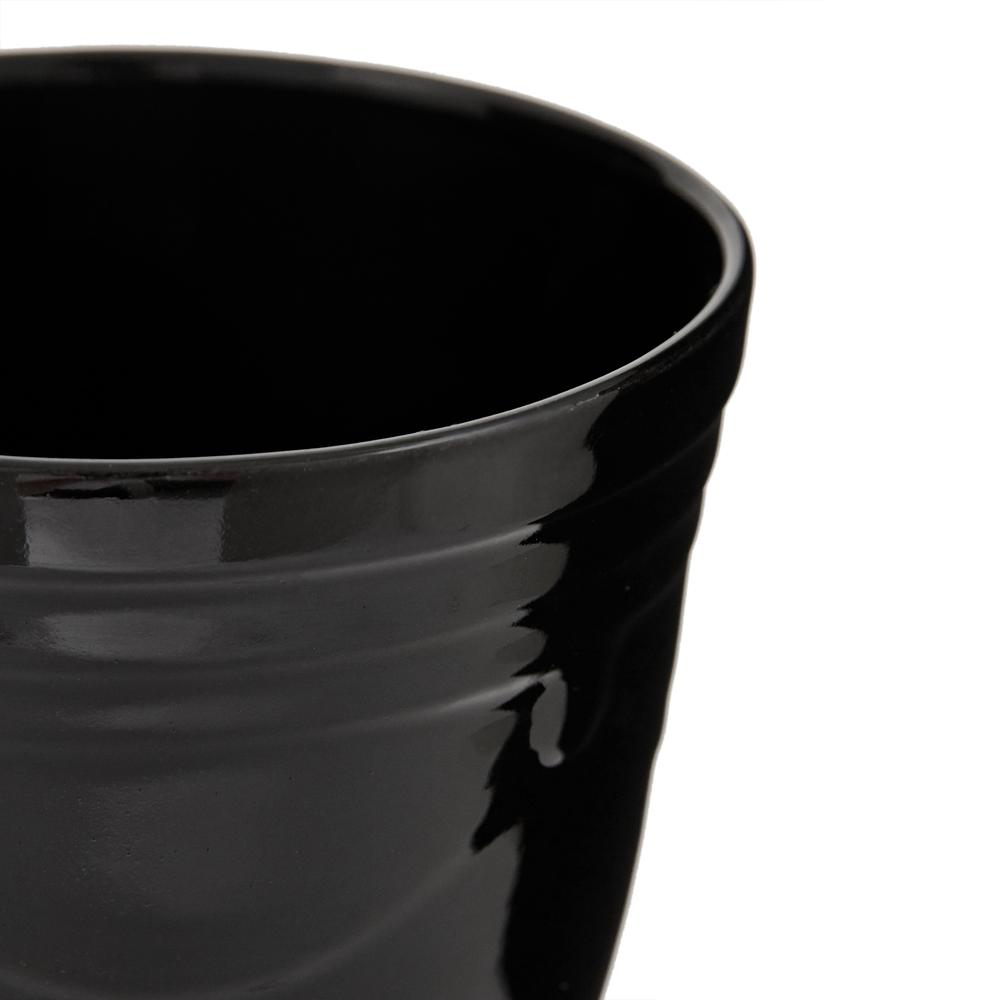 Ang Design Seramik Tabaklı Siyah Saksı
