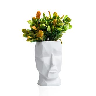 Objevi Geometrik Kafa Yapay Bitki Tanzim Beyaz 12x35 cm