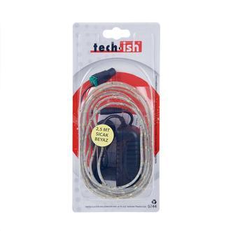 Tech-İsh Şerit Led 2,5 mt Dış Mekan Adaptörlü Set - Sıcak Beyaz (Gün ışığı)