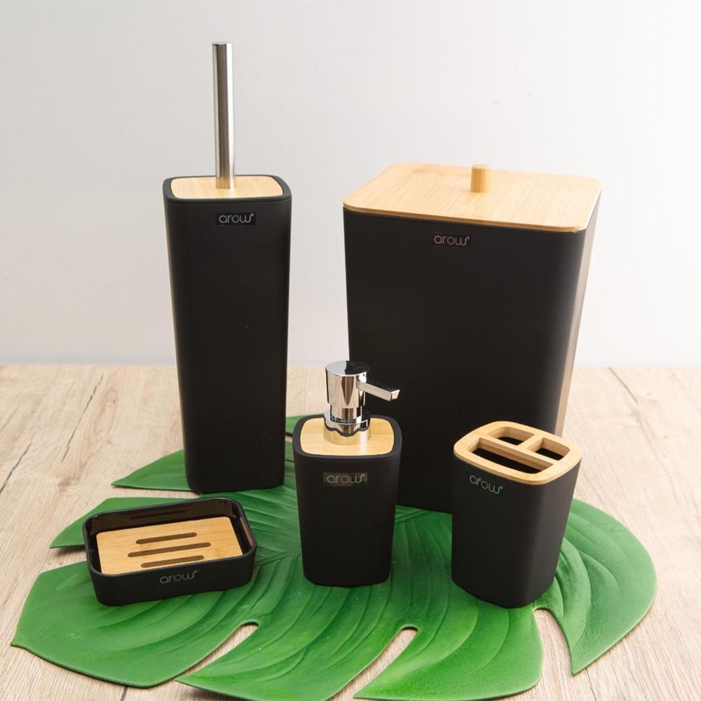 Arow Bambu Kapaklı 5 Parça Akrilik Banyo Aksesuar Seti - Siyah