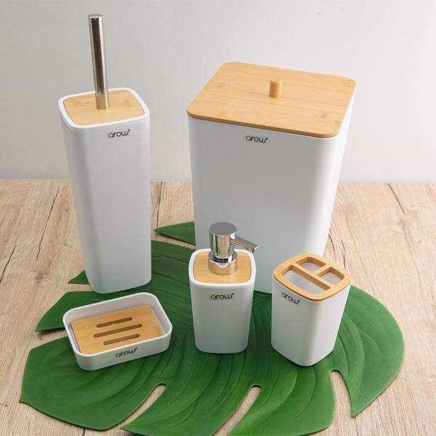 Arow Bambu Kapaklı 5 Parça Akrilik Banyo Aksesuar Seti - Beyaz