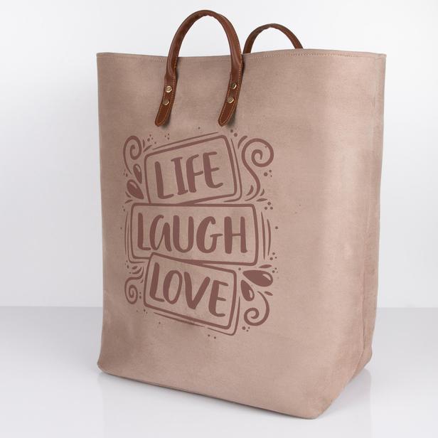 Simple Living Büzgülü Çok Amaçlı Çamaşır Sepeti - Kahverengi - 60 lt