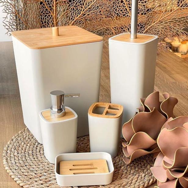 Arow Bambu Kapaklı 5 Parça Akrilik Banyo Aksesuar Seti - Krem