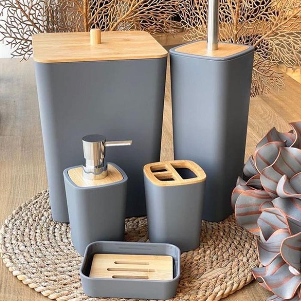 Arow Bambu Kapaklı 5 Parça Akrilik Banyo Aksesuar Seti - Gri