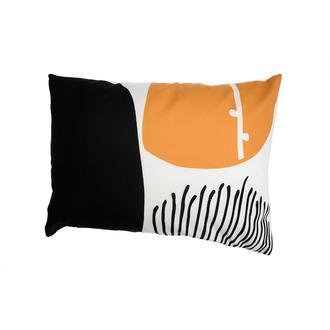 Missia Home Natura Serisi Hardal Siyah Parçalı Desen Kırlent Kılıfı - 35x50 cm