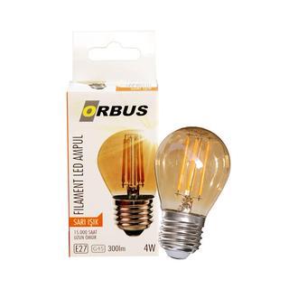 Orbus GA45 4W Filament Bulb Mini Top Amber E27 300Lm Ampul - 2200K Sarı Işık