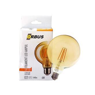 Orbus G95 6W Filament Bulb Amber E27 540lm  2200 K Sarı Işık Ampul