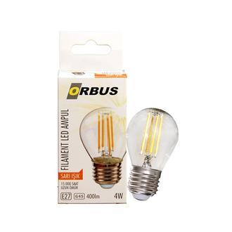 Orbus GC45 4W Filament Bulb Mini Top Şeffaf E27 300Lm Ampul - 2700K Sarı Işık