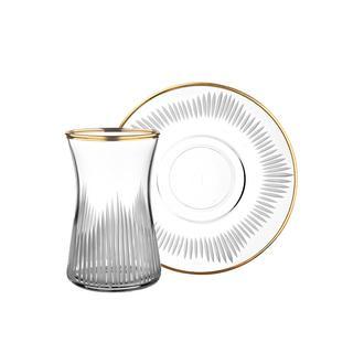 Öcl Kristal 12 Parça Çay Seti - Gold - 165 ml