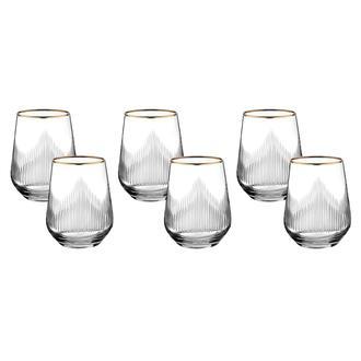 Öcl Kristal 6'lı Bardak - Gold - 420 ml