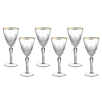 Öcl Kristal 6'lı Ayaklı Bardak - Gold - 250 ml