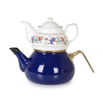 İpek Porselen Demlikli Emaye Çaydanlık - Mavi