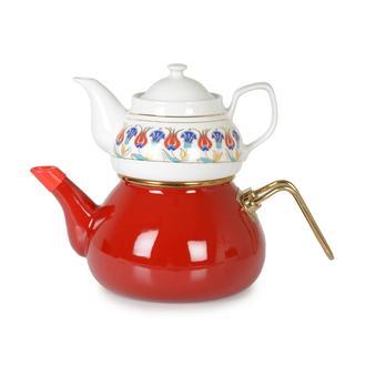 İpek Porselen Demlikli Emaye Çaydanlık - Kırmızı