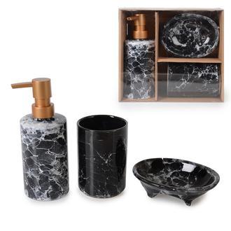 İpek Seramik 3'lü Banyo Aksesuar Seti - Siyah